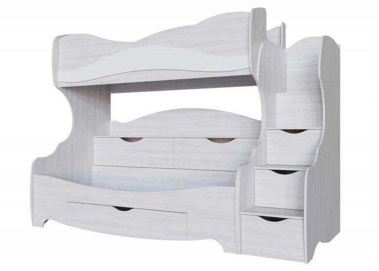 Детская Акварель Кровать двухъярусная Ясень анкор светлый Белая матовая SV-Мебель