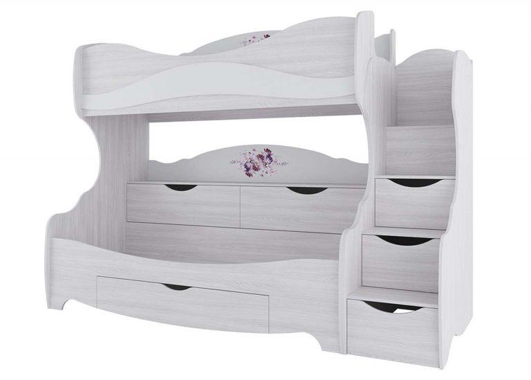Детская Акварель Кровать двухъярусная Ясень анкор светлый Цветы SV-Мебель