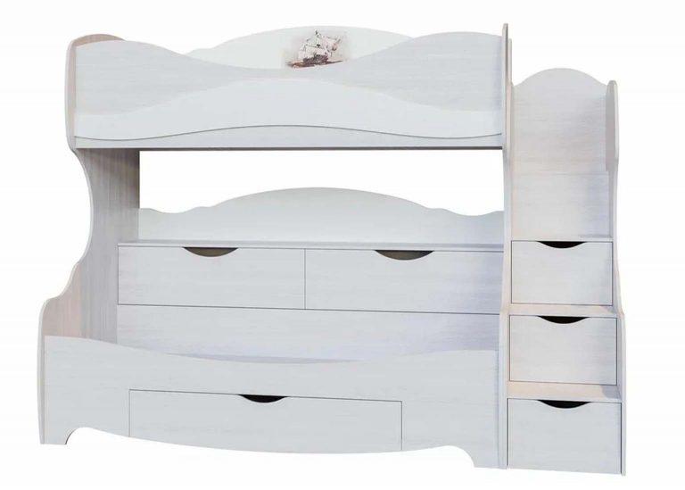 Детская Акварель Кровать двухъярусная Ясень анкор светлый Море SV-Мебель