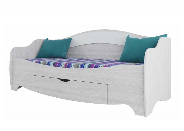 Детская Акварель Кровать одинарная Ясень анкор светлый Белая матовая SV-Мебель
