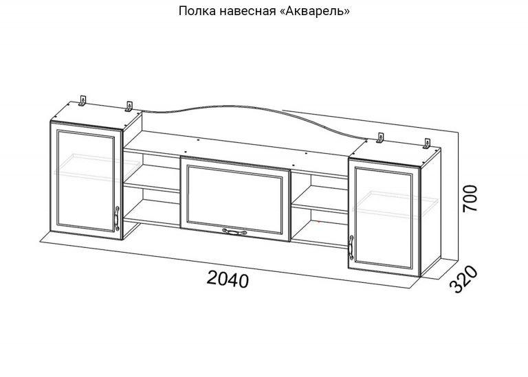 Детская Акварель Полка навесная схема SV-Мебель
