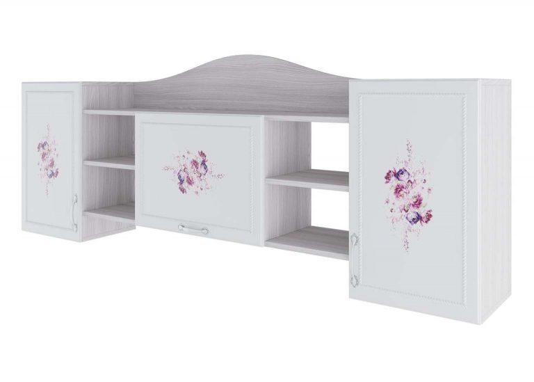 Детская Акварель Полка навесная Ясень анкор светлый Цветы SV-Мебель