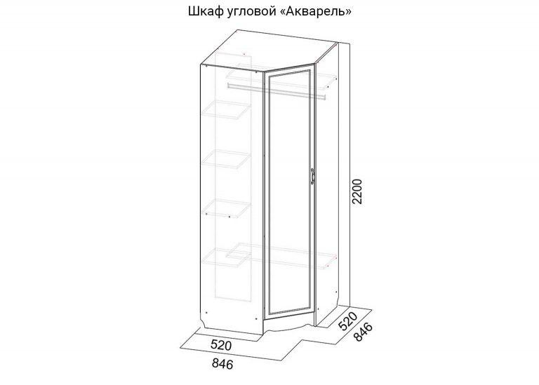 Детская Акварель Шкаф угловой схема SV-Мебель