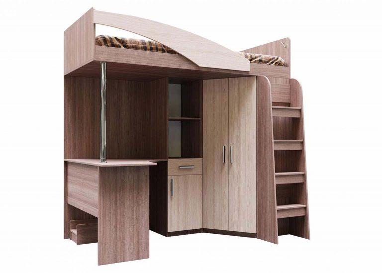 Детская Детская Город Кровать двухъярусная комбинированная Ясень Шимо темный / Шимо светлый SV-Мебель
