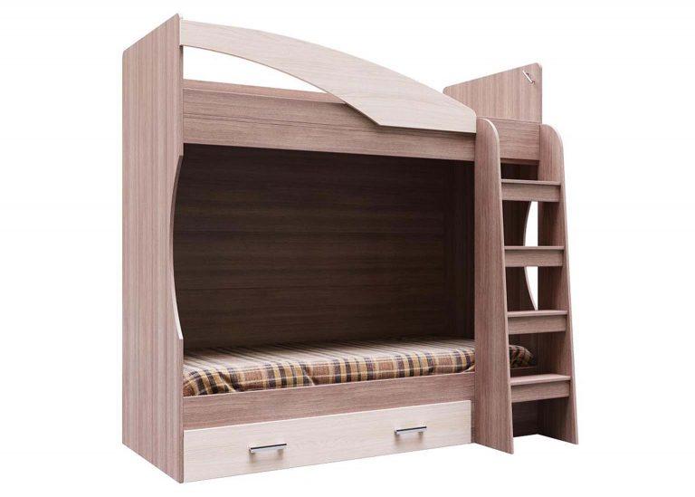 Детская Детская Город Кровать двухъярусная с ящиком Ясень Шимо тёмный / Шимо светлый SV-Мебель