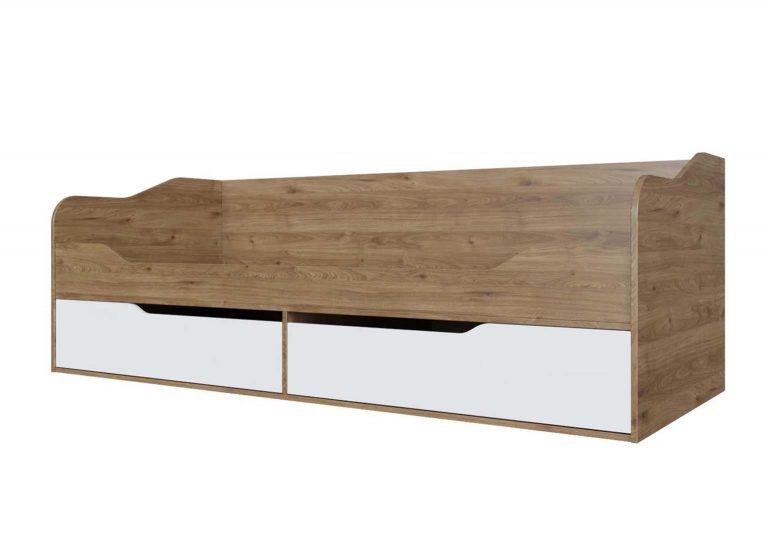 Детская Гарвард Кровать-диван с ящиками Гикори темный Белый без фотопечати SV-Мебель