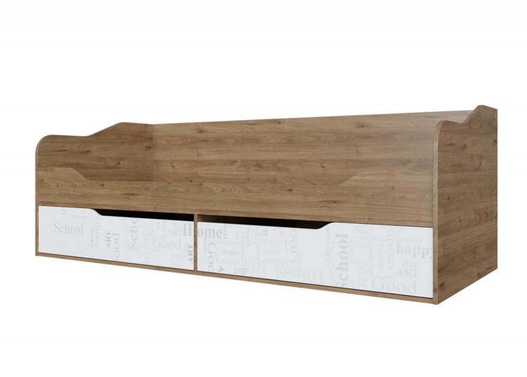 Детская Гарвард Кровать-диван с ящиками Гикори темный Белый с фотопечатью SV-Мебель