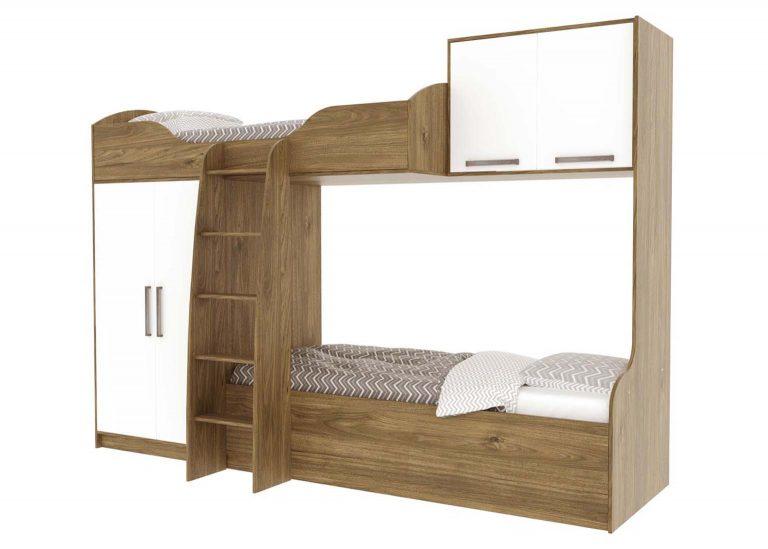 Детская Гарвард Кровать двухъярусная Гикори темный Белый без фотопечати SV-Мебель