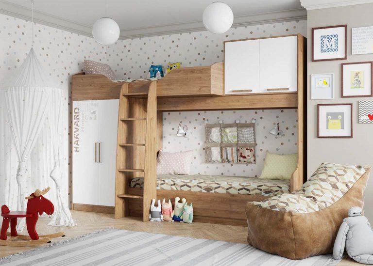 Детская Гарвард Кровать двухъярусная Гикори темный Белый с фотопечатью SV-Мебель