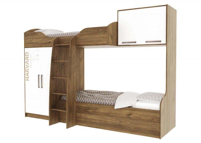 Детская Гарвард Кровать двухъярусная Гикори тёмный Белый с фотопечатью SV-Мебель