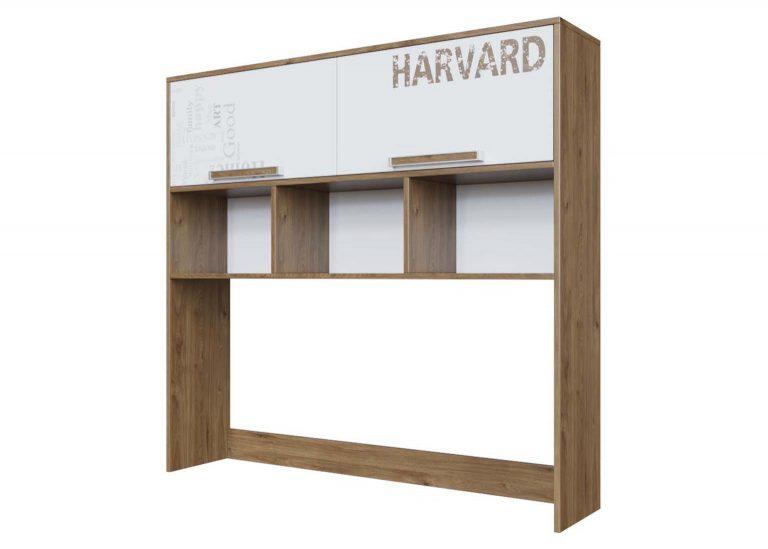 Детская Гарвард Надстройка на стол Гикори темный Белый с фотопечатью SV-Мебель
