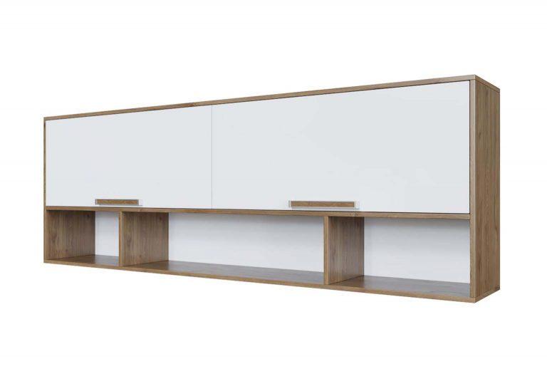 Детская Гарвард Полка навесная над кроватью Гикори темный Белый без фотопечати SV-Мебель