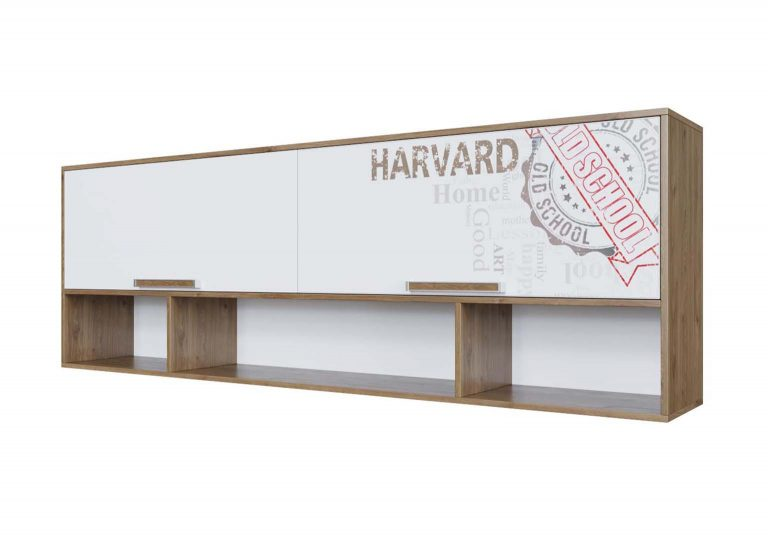 Детская Гарвард Полка навесная над кроватью Гикори темный Белый с фотопечатью SV-Мебель