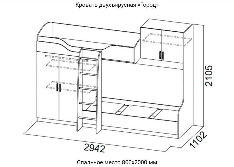 Детская Город Кровать двухъярусная схема SV-Мебель