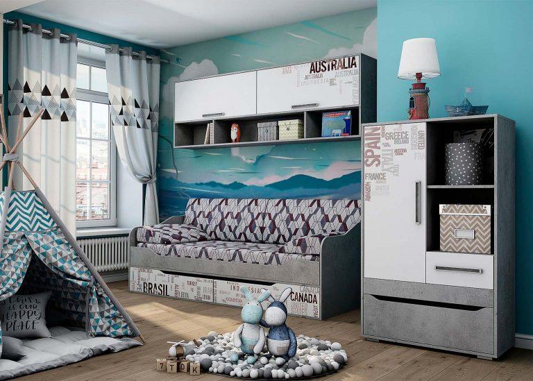Детская Грей Цемент светлый Белый SV-Мебель