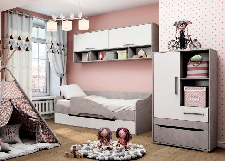 Детская Грей Цемент светлый Белый без фотопечати SV-Мебель