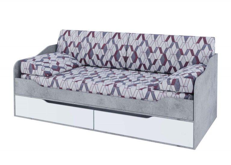 Детская Грей Кровать-диван с ящиками Цемент светлый Белый без фотопечати SV-Мебель