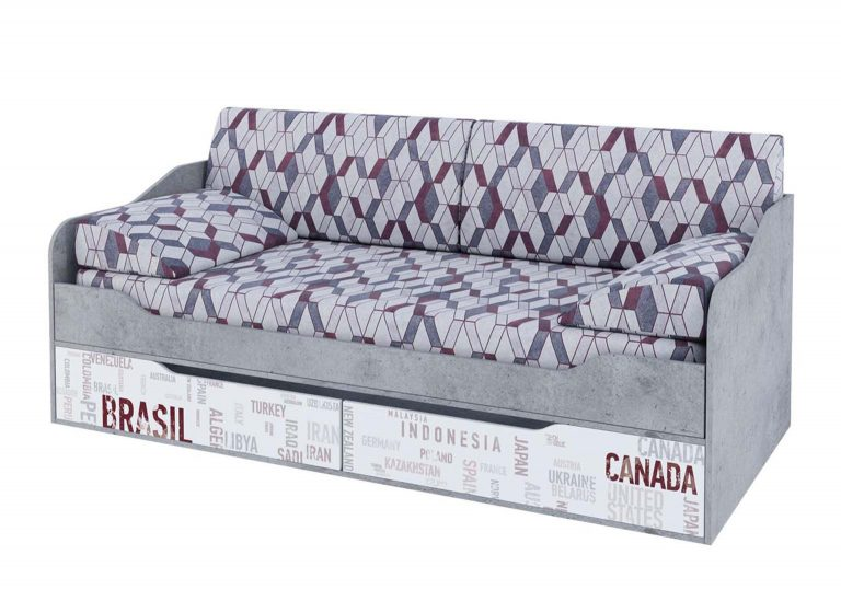 Детская Грей Кровать-диван с ящиками Цемент светлый Белый с фотопечатью SV-Мебель