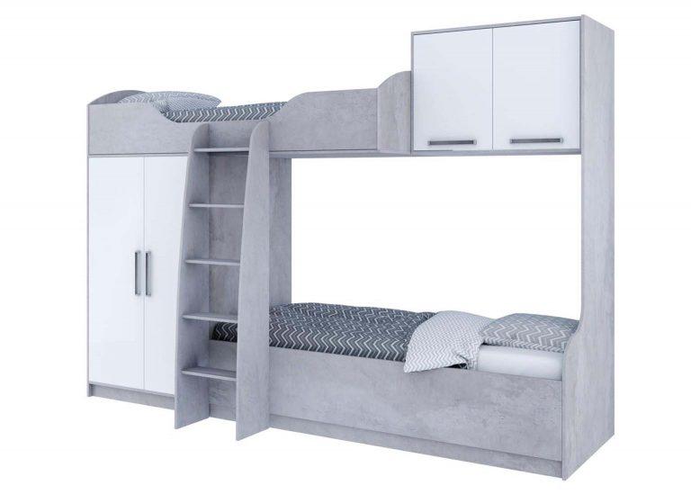 Детская Грей Кровать двухъярусная Цемент светлый Белый без фотопечати SV-Мебель