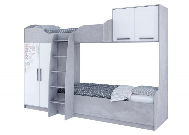 Детская Грей Кровать двухъярусная Цемент светлый Белый с фотопечатью SV-Мебель