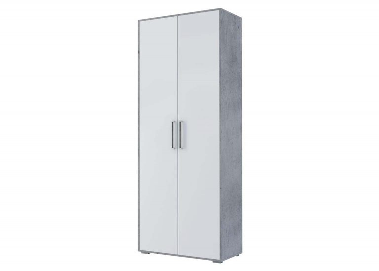 Детская Грей Шкаф двухстворчатый комбинированный Цемент светлый Белый без фотопечати SV-Мебель