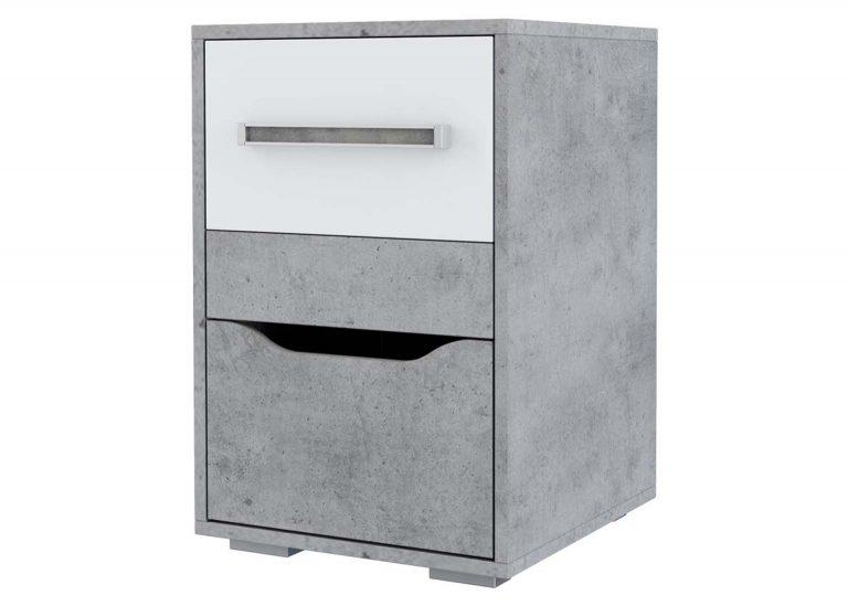 Детская Грей Тумба с ящиками Цемент светлый Белый SV-Мебель