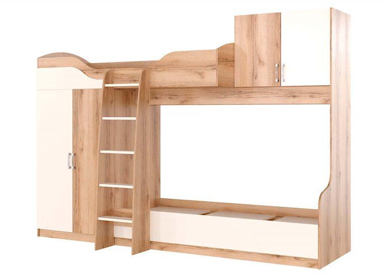 Детская Рио Дуб Делано Белый Кровать двухъярусная SV-Мебель
