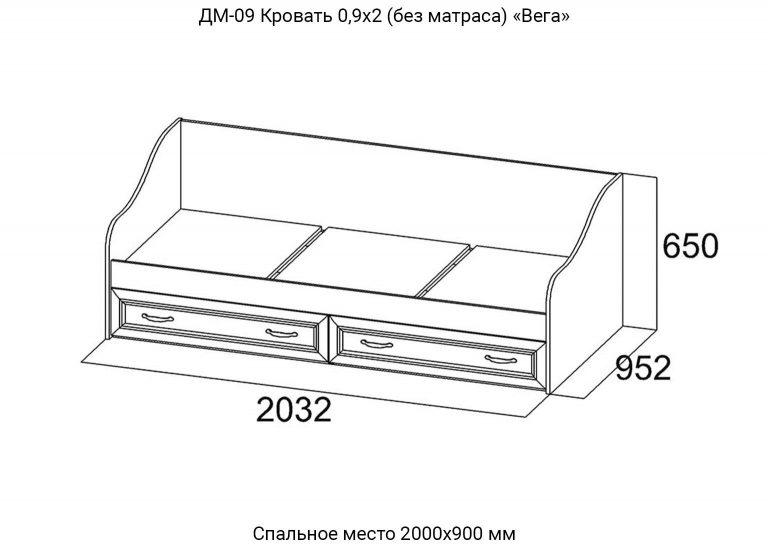 Детская Вега ДМ-09 Кровать 0,9х2,0 схема SV-Мебель