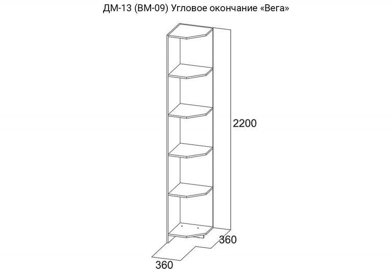 Детская Вега ДМ-13 ВМ-09 Угловое окончание схема SV-Мебель
