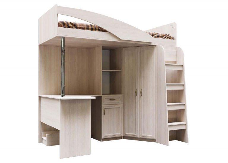Детская Вега ДМ-15 Кровать двухъярусная комбинированная 0,9х2,0 Сосна Карелия SV-Мебель
