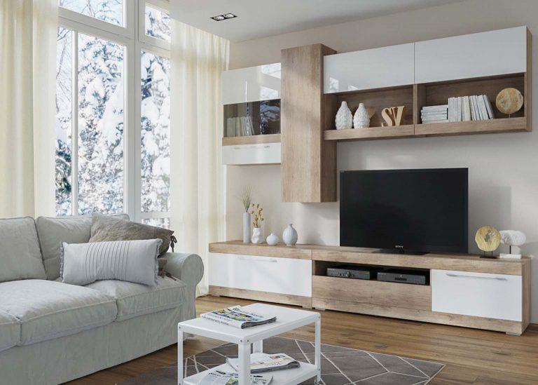 Гостиная Ницца Каньон светлый / Белый глянец SV-Мебель 1