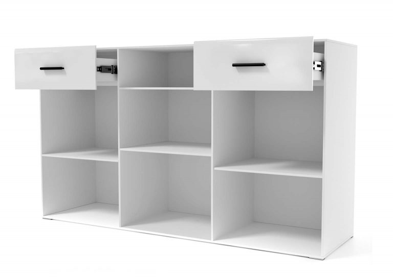 Гостиная Соло Комод открытый Белый / Белый глянец SV-Мебель