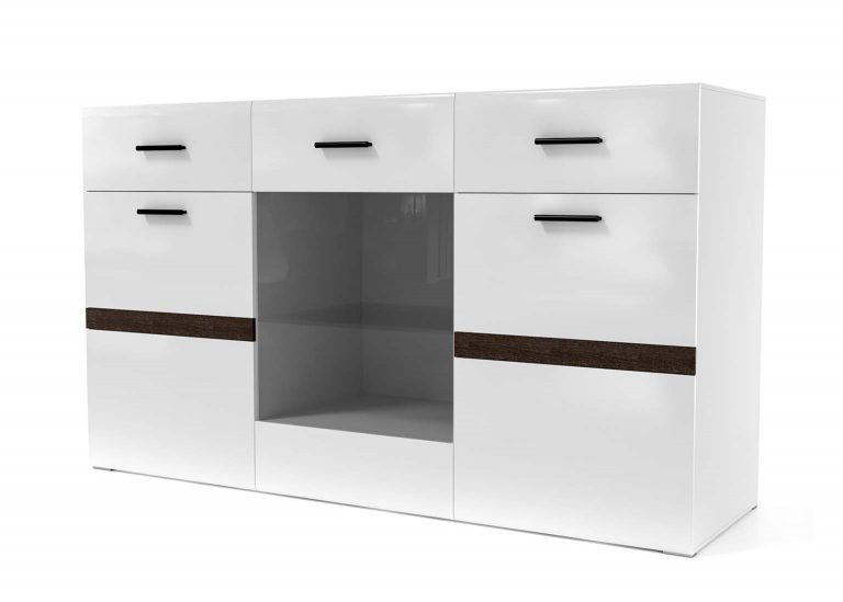 Гостиная Соло Комод-витрина Белый / Белый глянец SV-Мебель