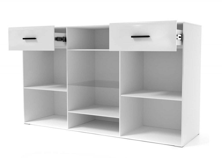 Гостиная Соло Комод-витрина открытый Белый / Белый глянец SV-Мебель