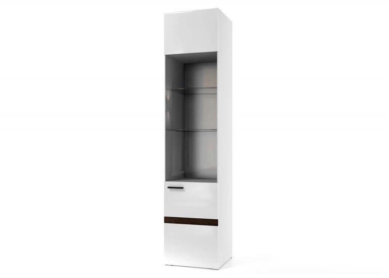 Гостиная Соло Пенал-витрина Белый Белый глянец SV-Мебель