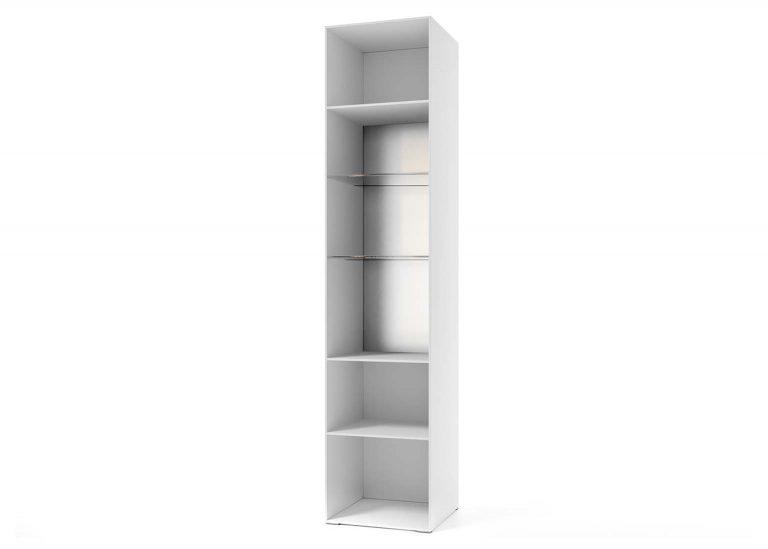 Гостиная Соло Пенал-витрина открытый Белый / Белый глянец SV-Мебель