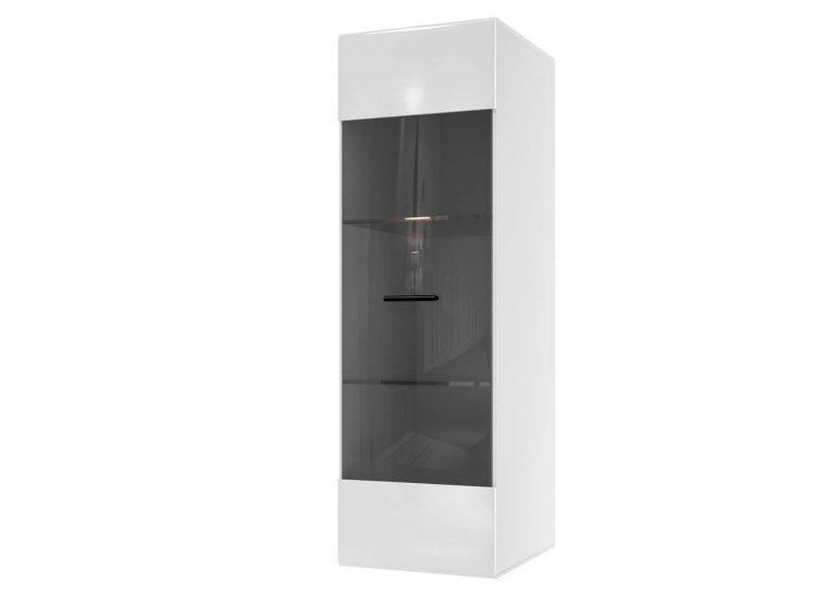 Гостиная Соло Шкаф навесной со стеклом Белый / Белый глянец SV-Мебель