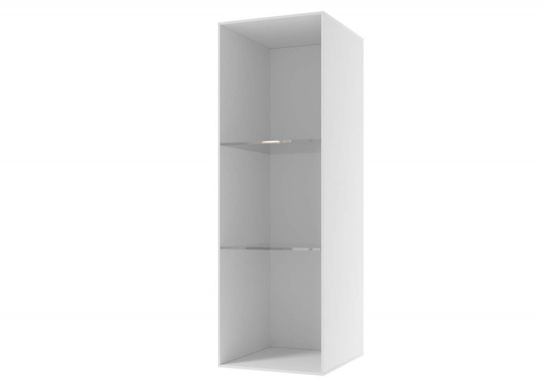 Гостиная Соло Шкаф навесной со стеклом открытый Белый / Белый глянец SV-Мебель