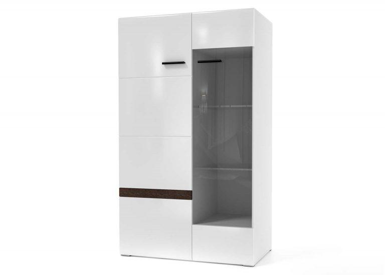 Гостиная Соло Шкаф-витрина Белый / Белый глянец SV-Мебель