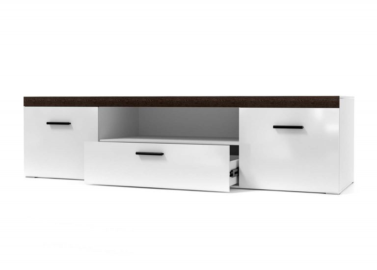 Гостиная Соло Тумба для телевидеоаппаратуры открытая Белы / Белый глянец SV-Мебель