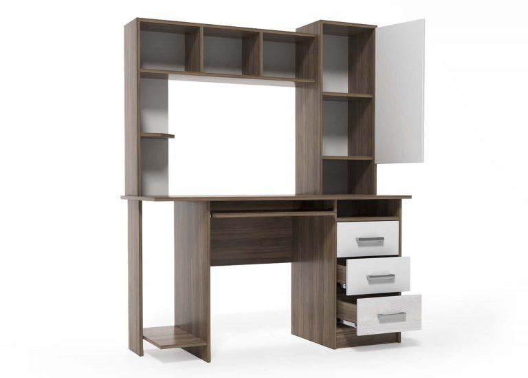 Компьютерный стол №6 Гикори / Белый открытый SV-Мебель