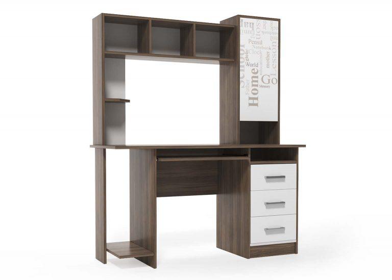 Компьютерный стол №6 Гикори / Белый SV-Мебель