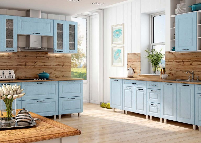 Кухня Грейвуд Деним голубой SV-Мебель