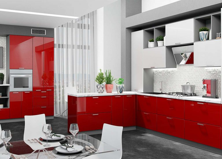 Кухня Модерн Гранат металлик / Белый металлик SV-Мебель
