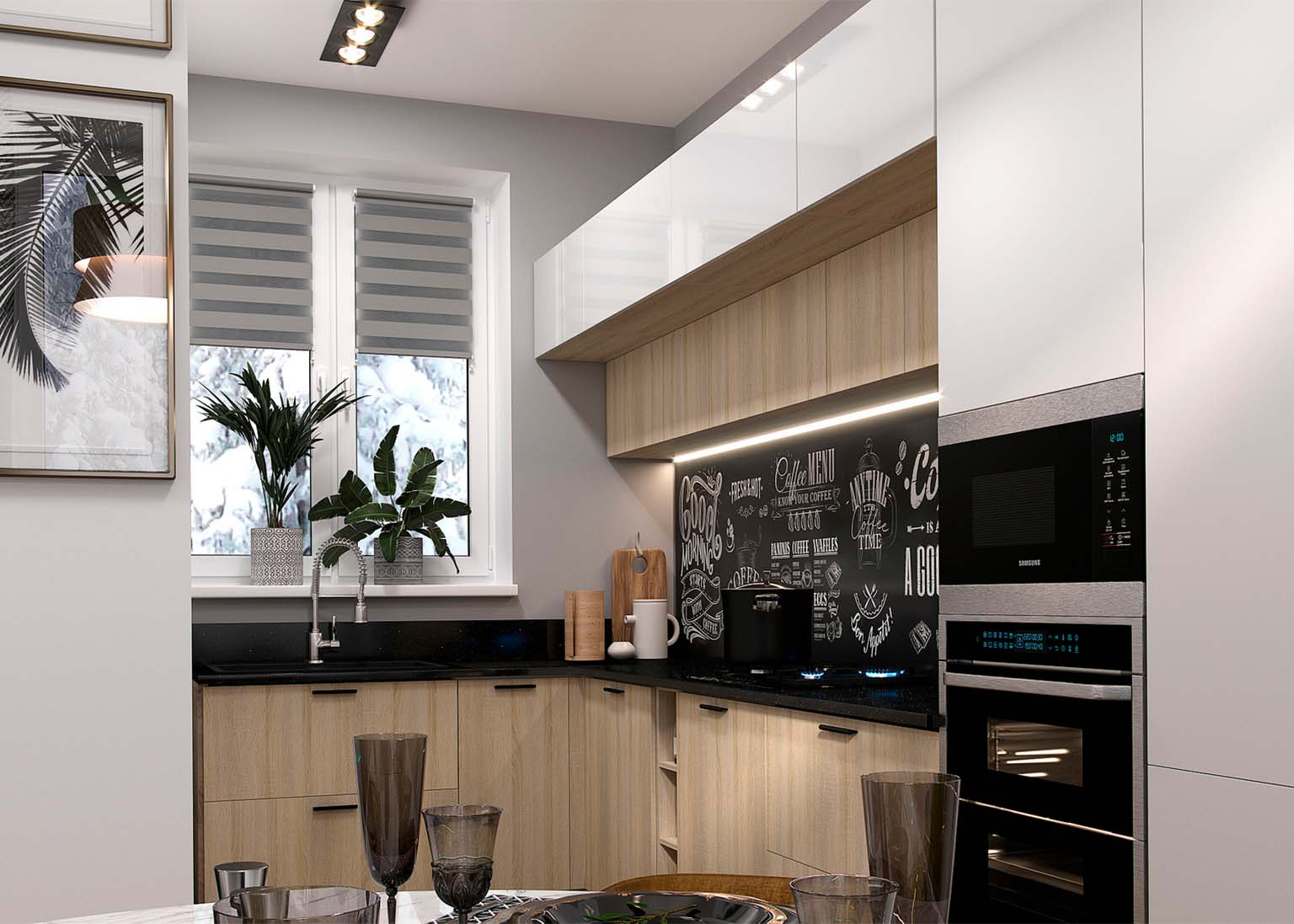 Кухня Модерн NEW Белый глянец Кухня Модус Дуб Сонома SV-Мебель