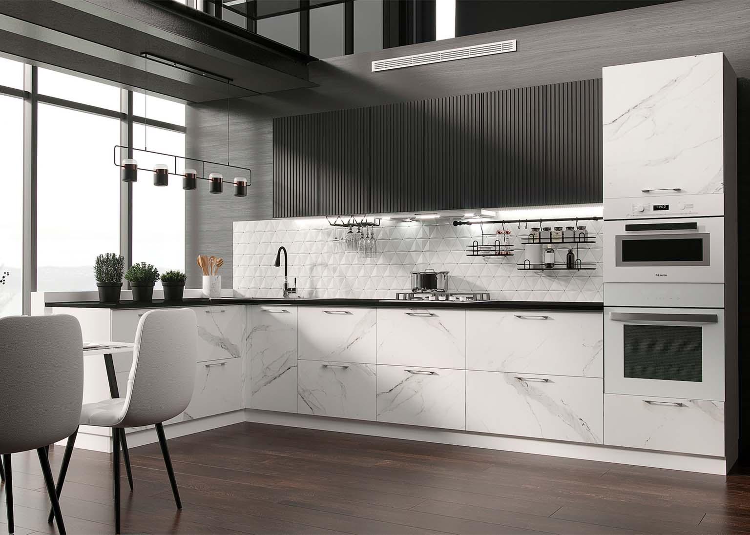 Кухня Модерн NEW Белый мрамор Кухня Модерн NEW Стайл графит SV-Мебель