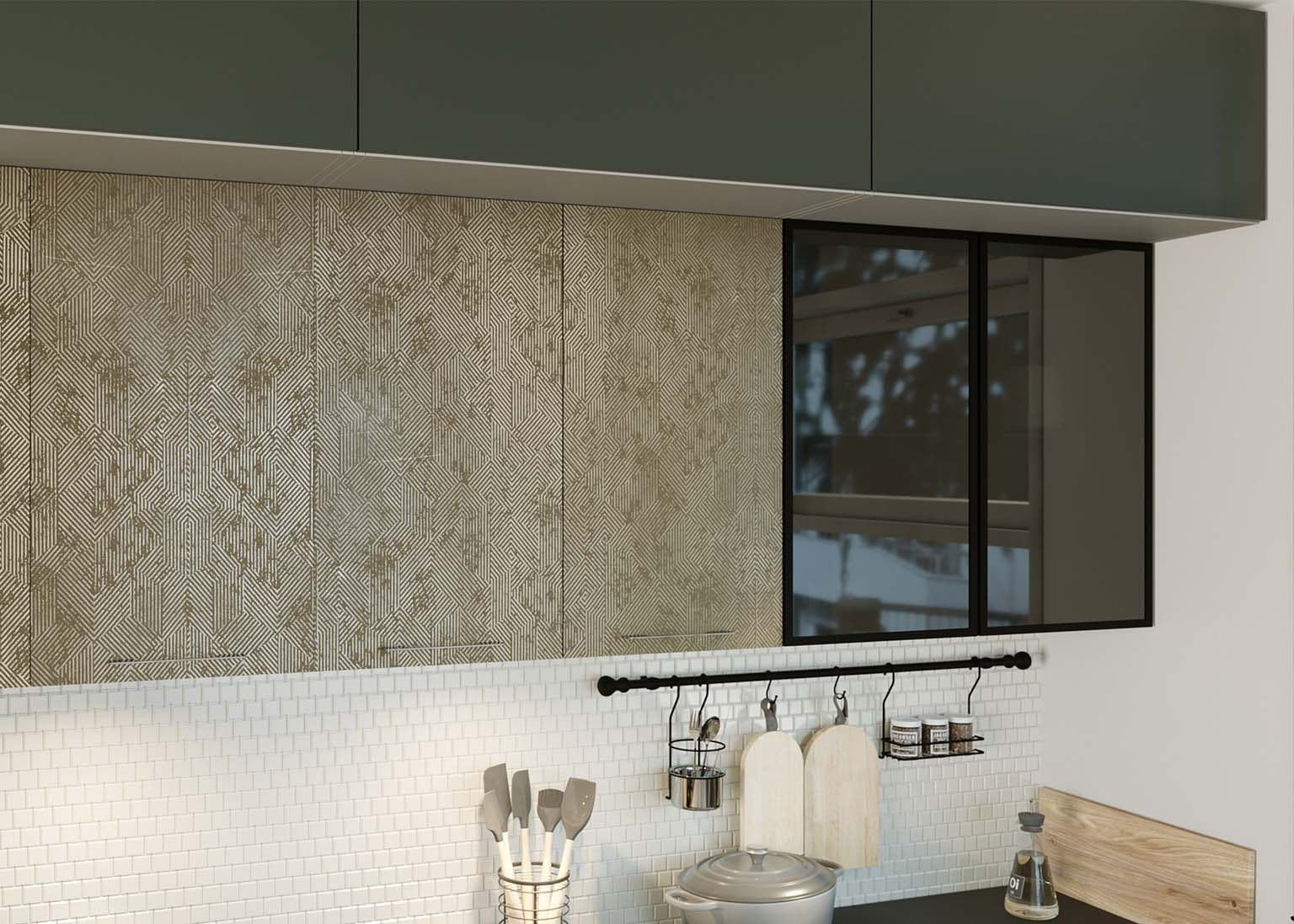 Кухня Модерн NEW Олива софт Геометрия бронза SV-Мебель
