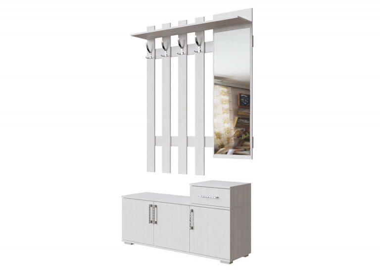 Прихожая №3 Вешкалка с зеркалом 1,2 м Ясень Анкор светлый SV-Мебель