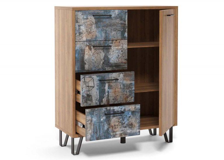 Прихожая Колибри Делано Графика Комод с ящиками и створкой SV-Мебель