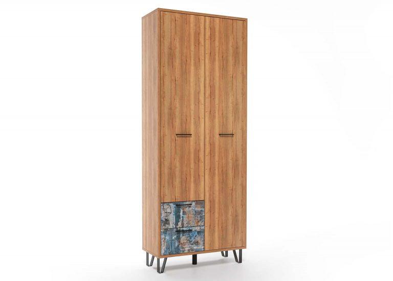 Прихожая Колибри Делано Графика Шкаф двухстворчатый с ящиками SV-Мебель